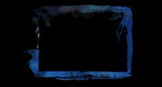 深蓝色方形彩画框特效