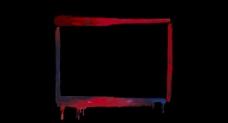 红色方形彩画框特效