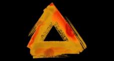 黄色三角水彩画框特效