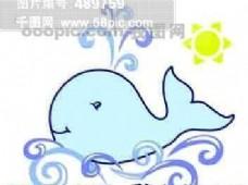 卡通 鲸鱼 水花