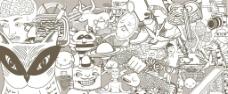 卡通背景 卡通人物 卡图片