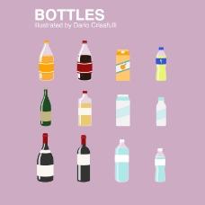 12款卡通瓶子设计矢量素材