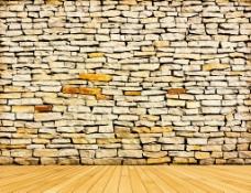 石头墙面木地板图片