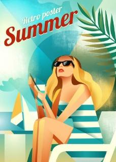 美女夏季旅游广告海报图片