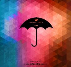 创意雨伞马赛克背景矢量素材