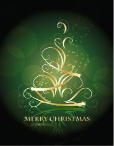 金色的旋转的圣诞树和墨绿色的背景
