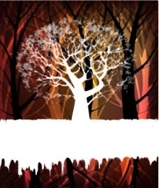 树的剪影背景02矢量