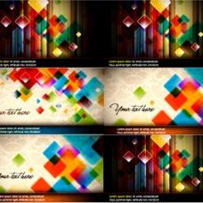 炫彩方块卡片背景矢量素材