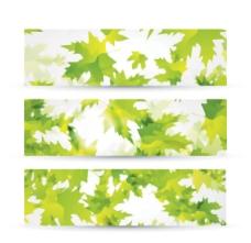 绿色叶子背景矢量素材绿色树叶飞舞的枫叶