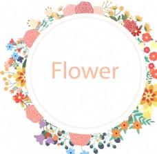 矢量鲜花花环模板