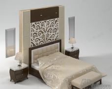 3D双人床模型