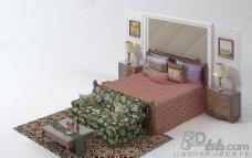 3D欧式双人床床头背景模型