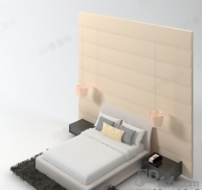 3D简约现代双人床模型