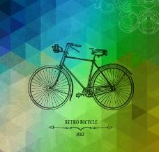 创意手绘自行车背景矢量素材