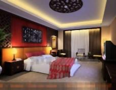 中国式的屏幕背景墙的卧室