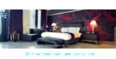 汽车旅馆的床上,床,家具,酒店,三维模型