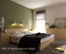 简单的绿色背景墙的卧室