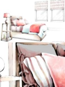 手绘风格的室内装饰PSD分层图14