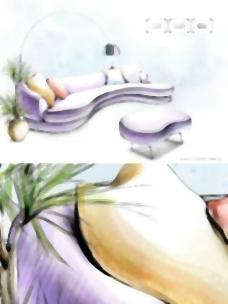 手绘风格的室内装饰PSD分层图39