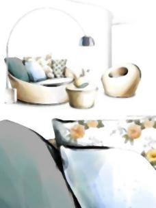 手绘风格的室内装饰PSD分层图15
