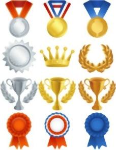 奖牌的奖牌奖杯矢量