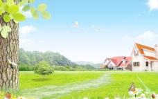 天空草地风景