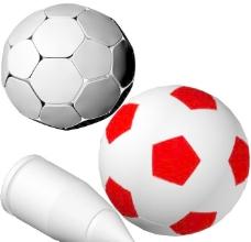 纯色足球黑白足球和子弹
