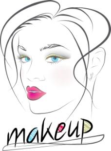 美丽的女人的脸矢量插画草图
