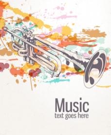 复古的飞溅的音乐背景矢量插图
