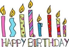 快乐的生日蜡烛矢量插画