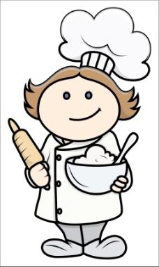 可爱的卡通小女孩在厨师服装-卡通插画矢量