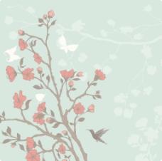 矢量春天花卉背景