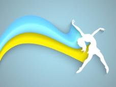 音乐舞蹈晚会背景海报或标语剪纸的蓝波背景一个跳舞的女孩设计