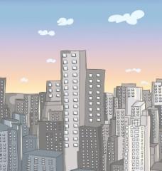 卡通背景与城市矢量插画