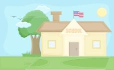 学校的卡通背景矢量