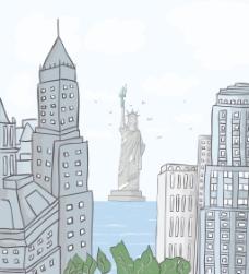 纽约卡通背景矢量插画
