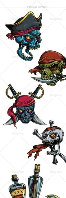 骷髅海盗 纹身图案图片