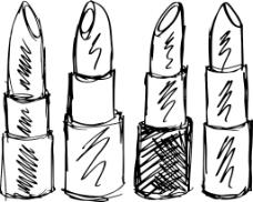 素描的口红孤立在白色背景矢量插画