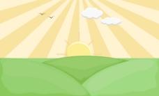 日出-卡通背景矢量