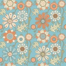 五颜六色的花的无缝模式中的卡通风格的无缝模式可用于墙纸