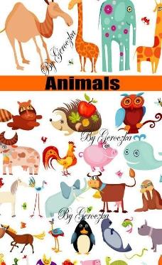 可爱卡通动物矢量图