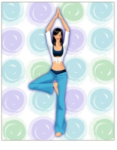 瑜伽美女矢量图3矢量图