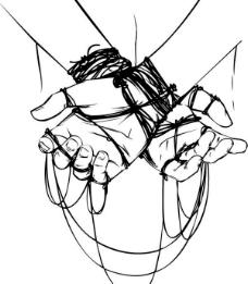 手捆绑矢量图