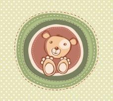 可爱卡通小熊背景矢量图