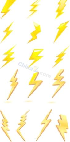 金色闪电图标矢量素材