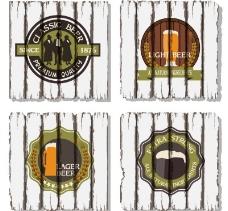 复古啤酒元素木板背景矢量素材