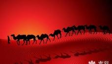 骆驼沙漠剪影风景矢量图