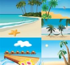海边休闲度假风光矢量图