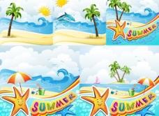 夏季海滩景观矢量图