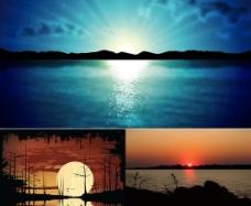 湖畔日出日落夕阳风景矢量图